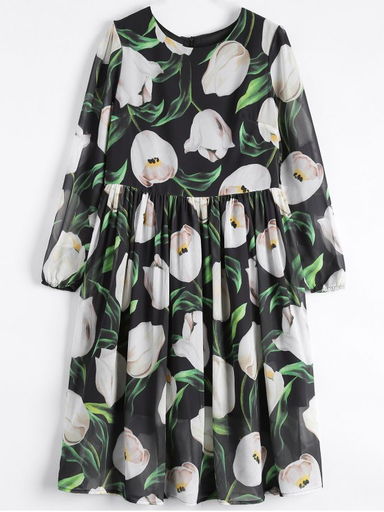 Long Sleeve Chiffon Floral Flowing Dress - BLACK S Mobile