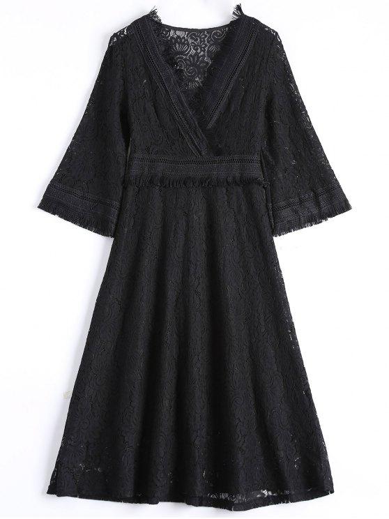 Guipure Lace Midi Flared Swing Dress - BLACK S Mobile
