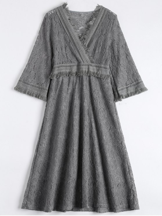 Guipure Lace Midi Flared Swing Dress - GRAY M Mobile