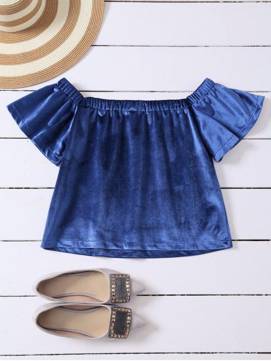Off The Shoulder Velvet Loose T-Shirt - BLUE S Mobile