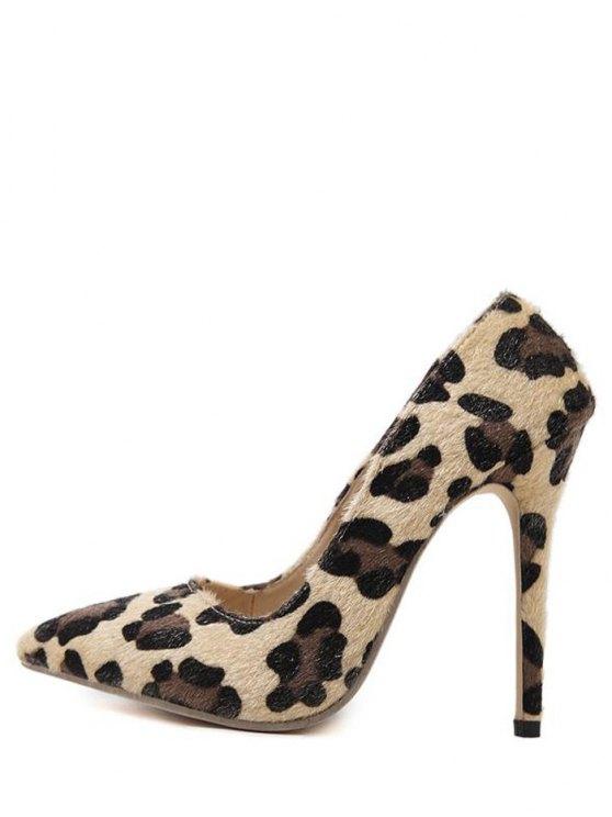 Mini Heel Leopard Print Pointed Toe Pumps - LEOPARD 38 Mobile