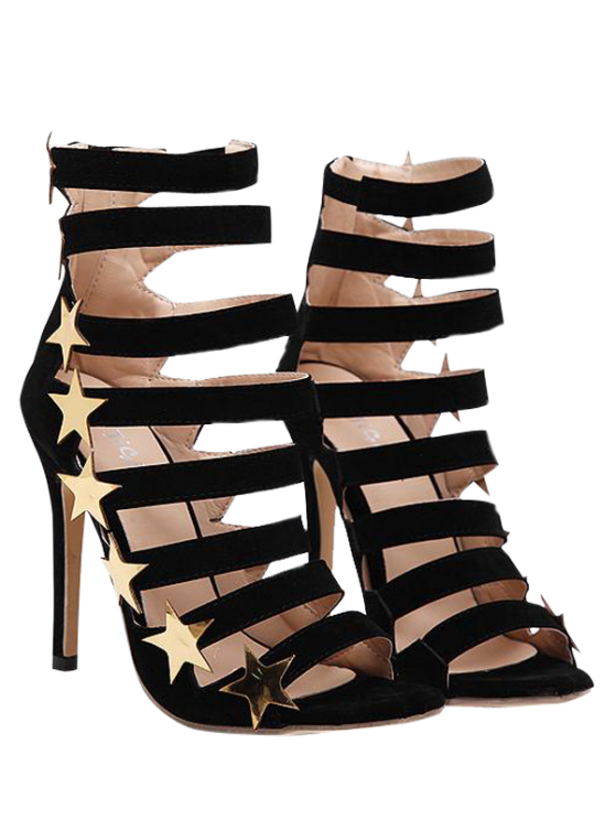 best Zipper Star Hollow Out Sandals - BLACK 40