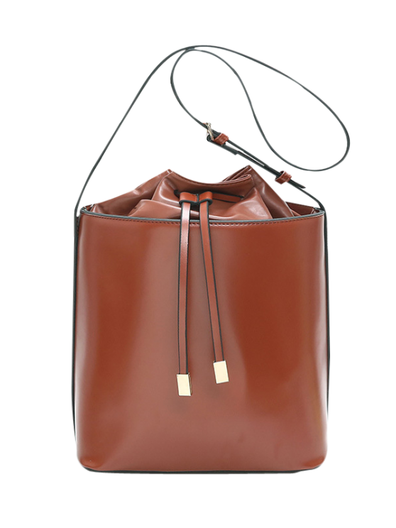 new Faux Leather Bucket Shoulder Bag - DARK AUBURN