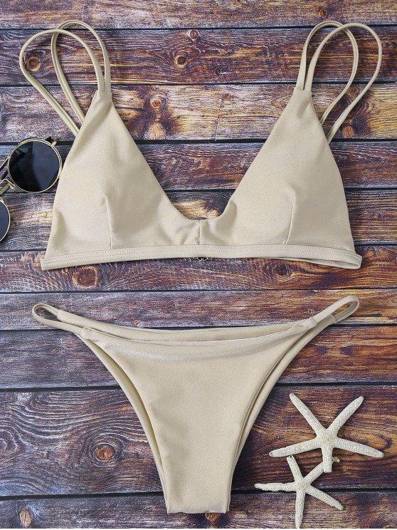 hot Bralette Bikini Top and String Bottoms - KHAKI S