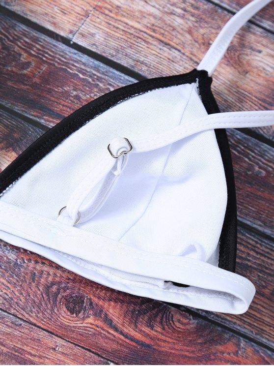 Bicolor Cami Thong Bikini - BLACK S Mobile
