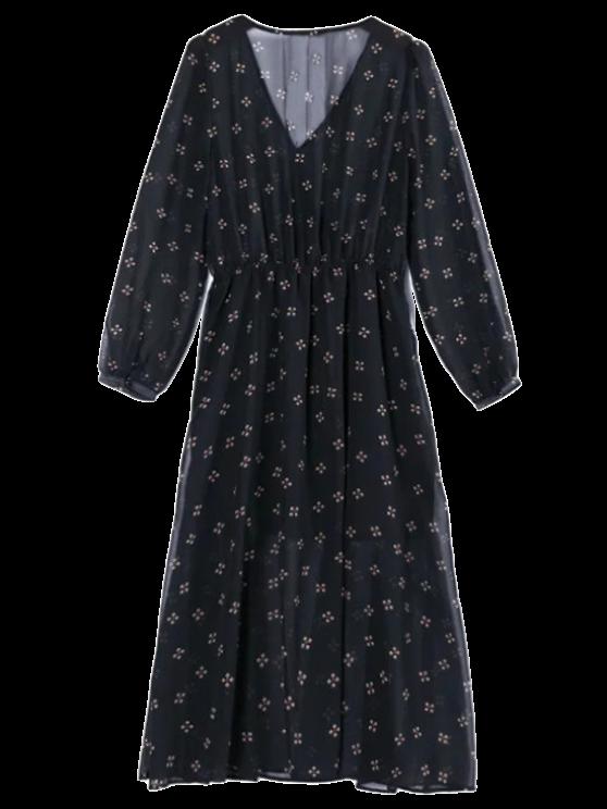 Hundiendo impresa gasa del cuello del vestido Sobrepelliz - Negro S