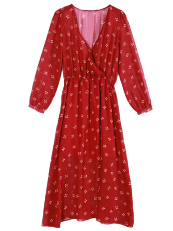 outfit Printed Plunging Neck Chiffon Surplice Dress - RED M