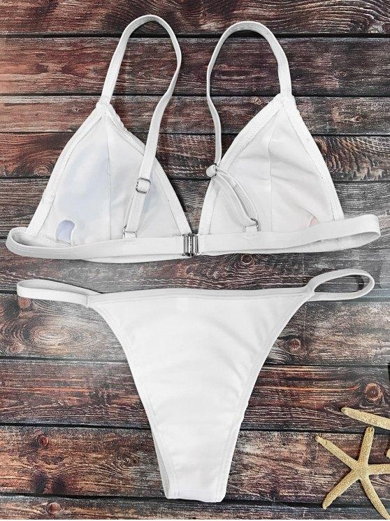 Plunging Neck V String Bikini - WHITE M Mobile