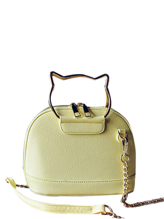 women's Candy Color Crossbody Bag with Chains - YELLOW