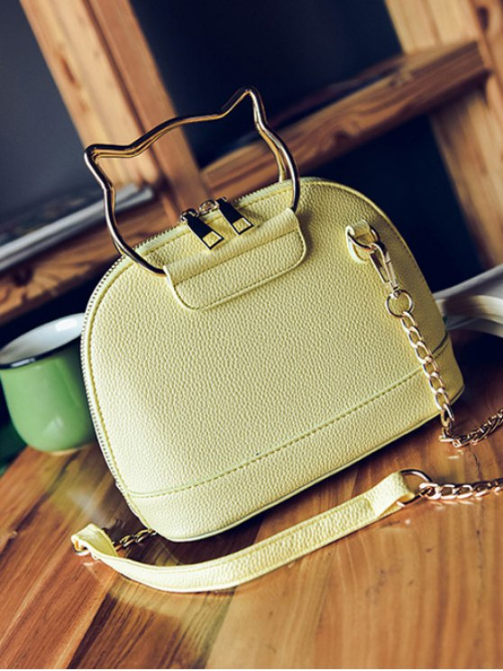 Candy Color Crossbody Bag with Chains - YELLOW  Mobile