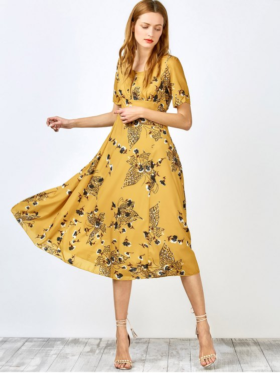 outfits Jewel Neck Tiny Floral Print Short Sleeve Dress - YELLOW S