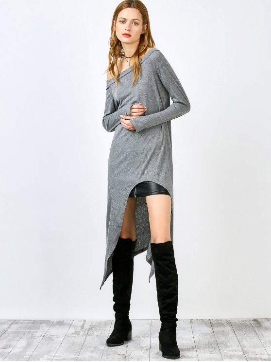 Slash Neck Irregular Hem lâche robe - Gris L