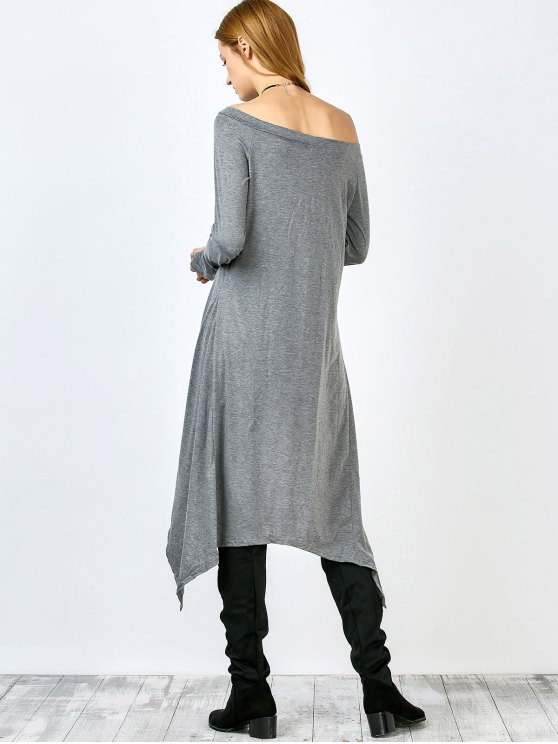 Slash Neck Irregular Hem Loose Dress - GRAY S Mobile