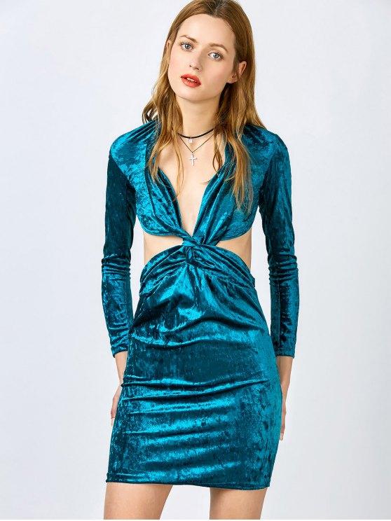 latest Pluging Neck Cutout Velvet Dress - BLUE S