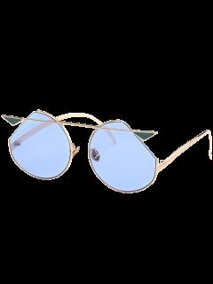 Metal Crossbar Cat Eye Sunglasses - Gole Frame + Blue Lens