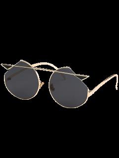 Metal Crossbar Cat Eye Sunglasses - Golden+grey