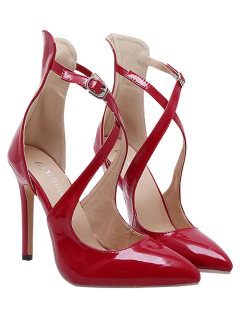 Pointed Toe Mini Heel Cross Strap Pumps - Red 37
