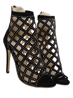 Zipper Rhinestones Hollow Out Sandals - Black 40