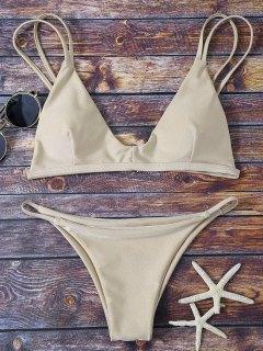 Bralette Bikini Top And String Bottoms - Khaki S
