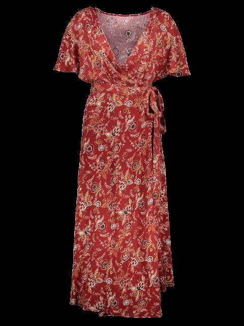 latest Flutter Sleeve Midi Wrap Dress - RUST RED 119# S Mobile
