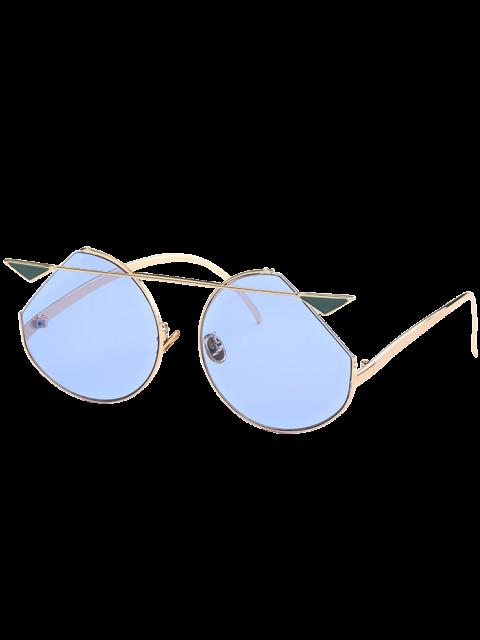 online Metal Crossbar Cat Eye Sunglasses - GOLE FRAME + BLUE LENS  Mobile