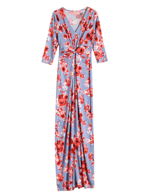 shop Gathered Front Maxi Floral Dress - BLUE GRAY L Mobile