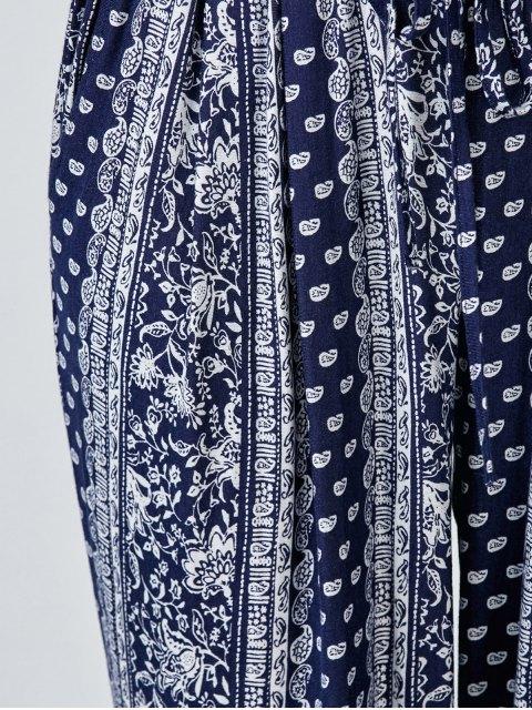 buy Paisley Print Carrot Pants - BLUE L Mobile