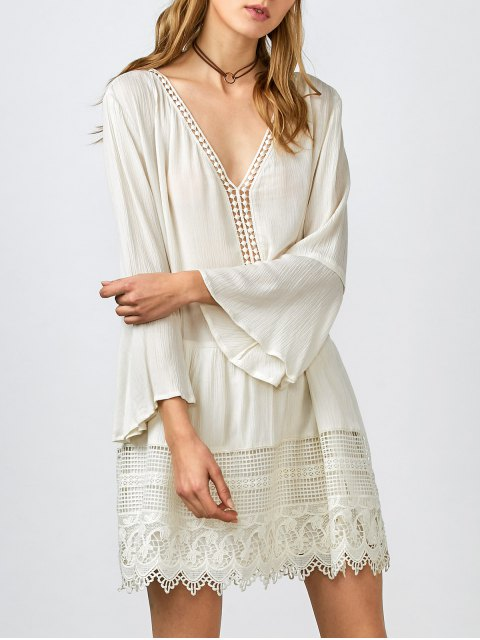 fancy Belled Sleeve Crochet Trim Shift Dress - WHITE L Mobile