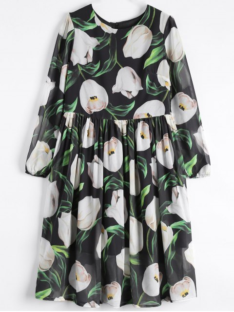 affordable Long Sleeve Chiffon Floral Flowing Dress - BLACK XL Mobile