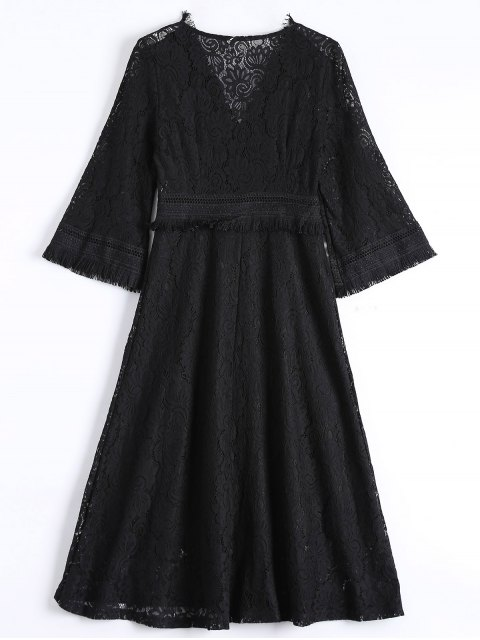 ladies Guipure Lace Midi Flared Swing Dress - BLACK L Mobile