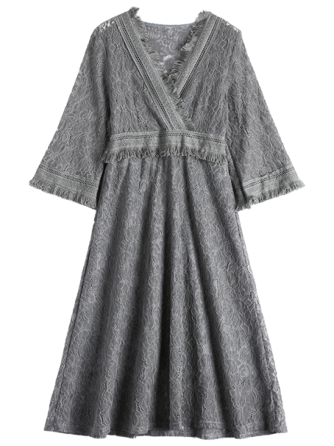best Guipure Lace Midi Flared Swing Dress - GRAY M Mobile