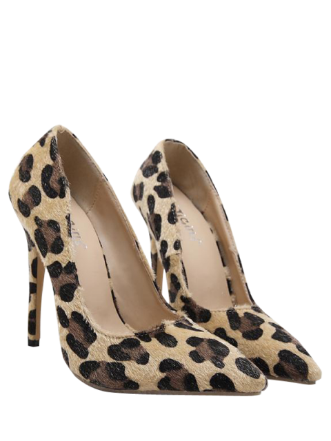 lady Mini Heel Leopard Print Pointed Toe Pumps - LEOPARD 37 Mobile