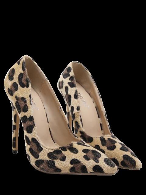 best Mini Heel Leopard Print Pointed Toe Pumps - LEOPARD 38 Mobile