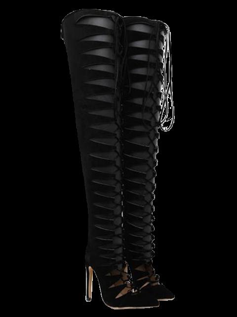 hot Mini Heel Pointed Toe Tie Up Pumps - BLACK 37 Mobile