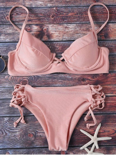shop Cami Lace Up Bikini - PINK S Mobile