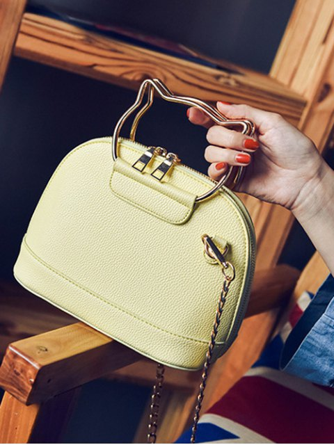 women's Candy Color Crossbody Bag with Chains - YELLOW  Mobile