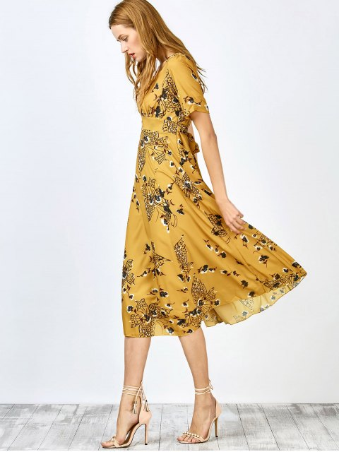 outfits Jewel Neck Tiny Floral Print Short Sleeve Dress - YELLOW S Mobile