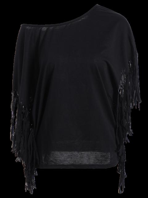 Skew Neck frangée Chemisier noir - Noir S Mobile