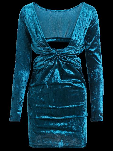 unique Pluging Neck Cutout Velvet Dress - BLUE M Mobile