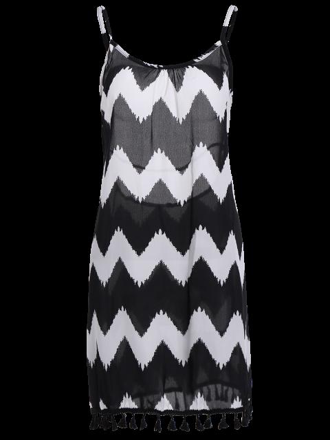 new Zig Zag Spaghetti Straps Tassels Spliced Dress - BLACK XL Mobile