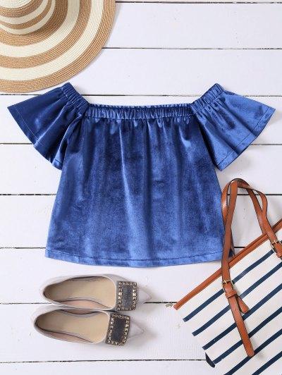 Off The Shoulder Velvet Loose T-Shirt - Blue