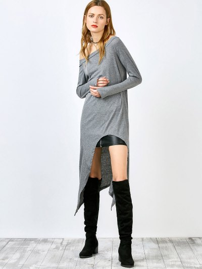 Slash Neck Irregular Hem Loose Dress - Gray