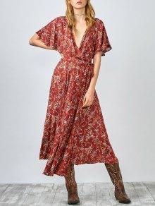 Flutter Sleeve Midi Wrap Dress - Rust Red 119#