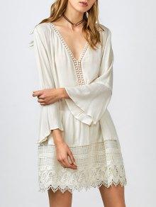 Belled Sleeve Crochet Trim Shift Dress - White