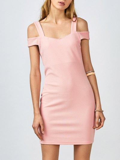 Cold Shoulder Bodycon Dress - Pink
