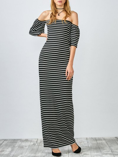Striped Off The Shoulder Long Dress - White And Black
