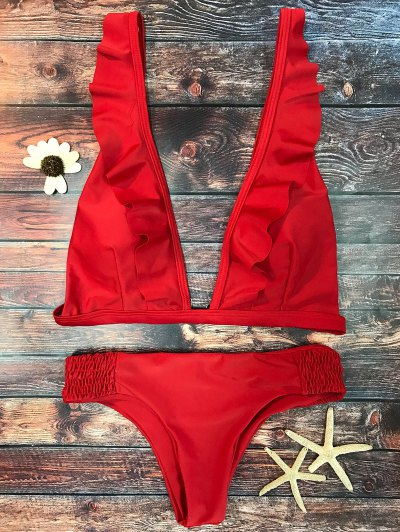 Bikini Volantes Cuello V Largo Plisado - Rojo L