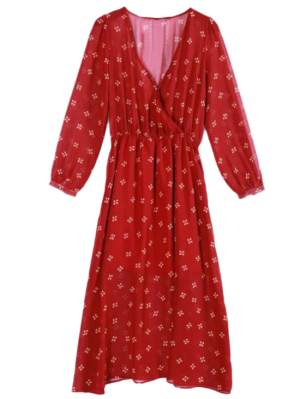 Printed Plunging Neck Chiffon Surplice Dress - Red