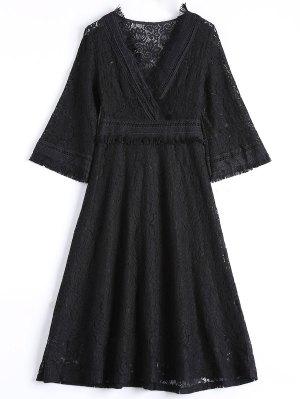 Guipure Vestido Evasé Midi Encaje - Negro