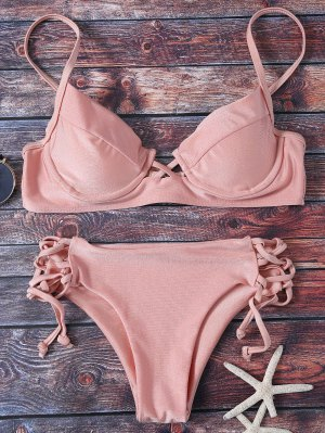 Cami Lace Up Bikini - Pink
